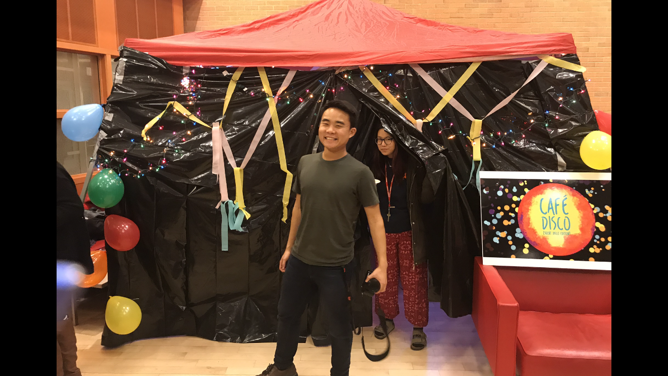Bryce Lew '19 and Dana Watkiss '19 pose with Cafe Disco